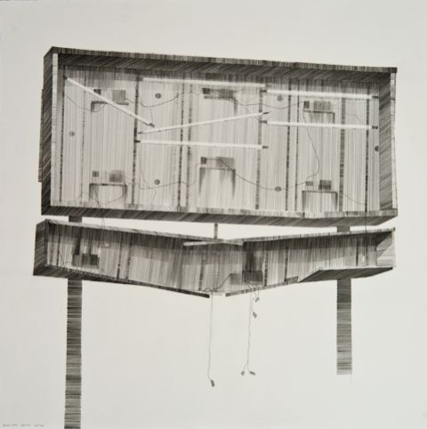 Modern World, pencil on paper, 38.5 x 38.5cm