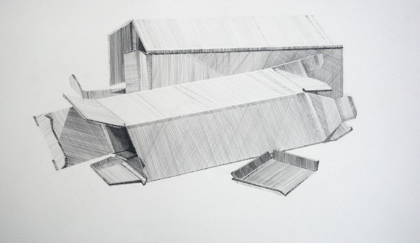Cardboard Form, pencil on paper, 30 x 18cm
