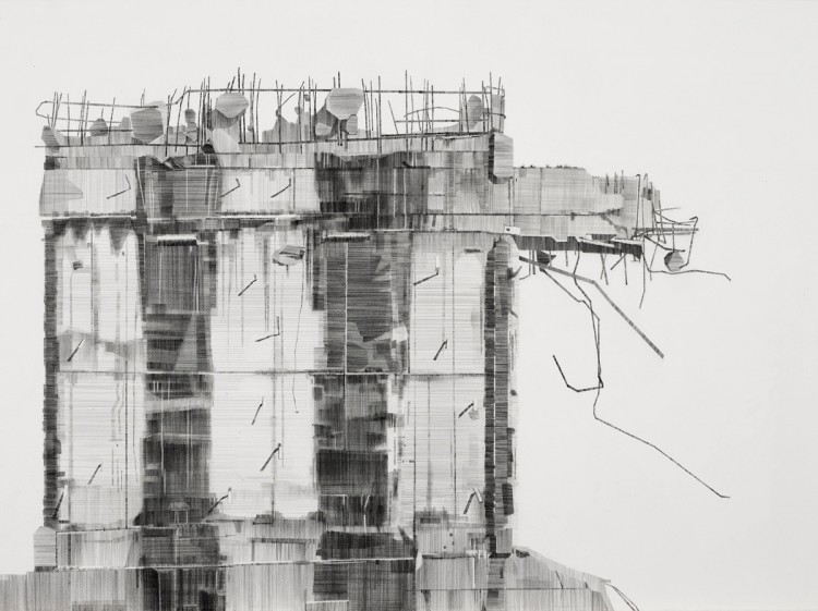 Demolition pencil on paper 76 x 56cm
