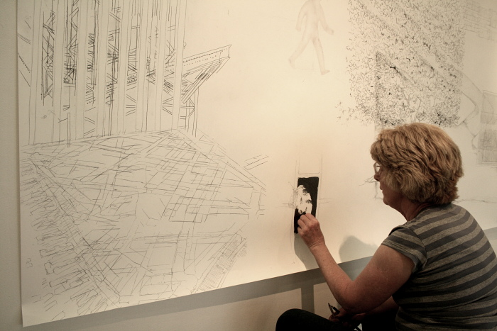Kathy Herbert, artist, working in Draoicht on Walking/Drawing