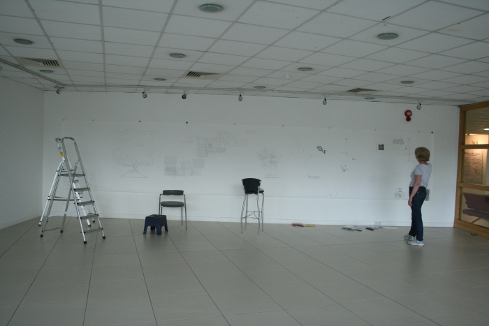 Drawing near completion in gallery space