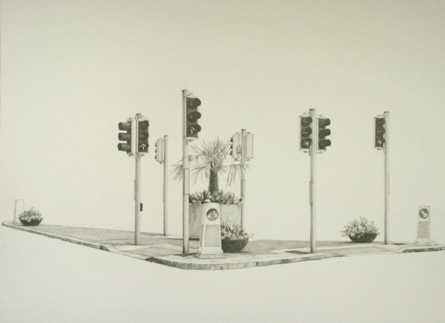 Island in Spring, pencil on paper, 76 x 56 cm