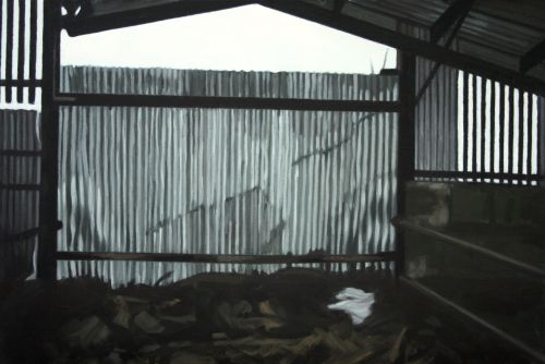 Mathew's Cow Shed - Kelsha oil on canvas